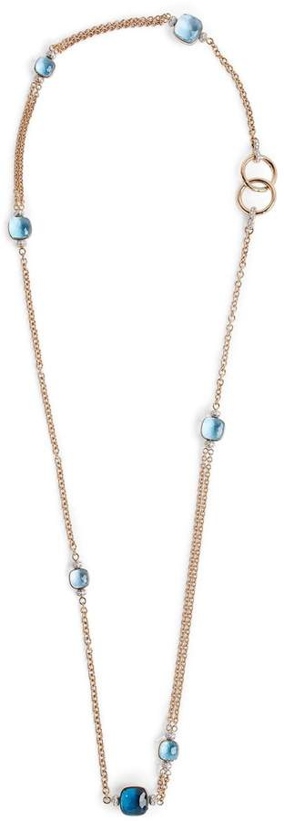 Pomellato Rose Gold and Blue Topaz Nudo Necklace