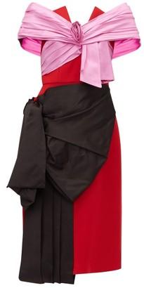 Prada Gathered Satin And Wool-twill Dress - Womens - Red Multi