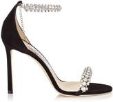 Jimmy Choo SHILOH 100 Black Suede Open Toe Sandal with Jewel Trim