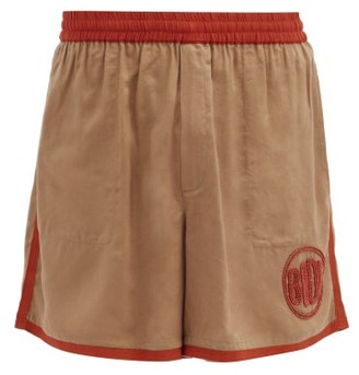 Bode Beaded Twill Shorts - Brown