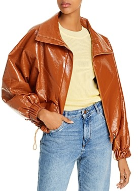 AERON Portia Faux-Leather Bomber Jacket