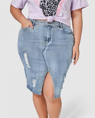 Sunday In The City - Women's Blue Denim skirts - Funkdafied Distressed Denim Skirt - Size One Size, 16 at The Iconic