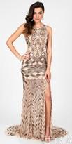 Terani Couture Keyhole Shimmering Basket Weave Starlet Dress
