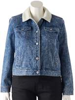 Mudd Juniors' Plus Size Sherpa-Lined Jean Jacket