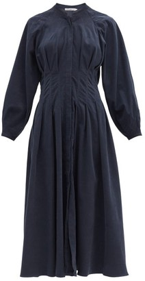 Three Graces London Valeraine Balloon-sleeve Cotton-corduroy Dress - Navy