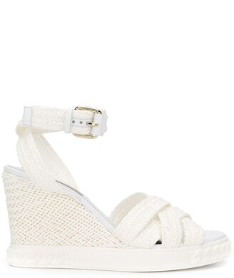 Casadei woven wedge-heel sandals
