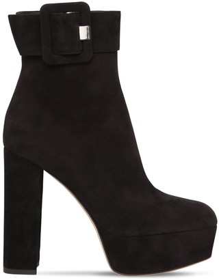 Sergio Rossi 120mm Mia Buckled Suede Platform Boots