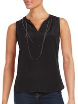 Saks Fifth Avenue BLACK Sleeveless Silk Top