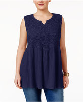 Style&Co. Style & Co Plus Size Crochet-Bib Babydoll Top, Created for Macy's