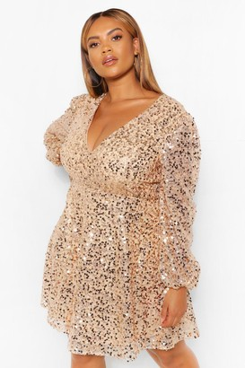 boohoo Plus Sequin Blouson Sleeve Skater Dress