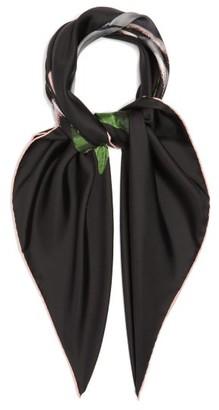 Valentino Rose-print Silk Scarf - Womens - Black
