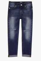 7 For All Mankind Girls 7-14 Josefina 5-Pocket Skinny Boyfriend Stretch Denim Jeans In Rigid Sanded Blue