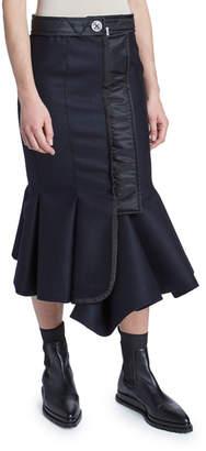 Sacai Melton Fitted Mermaid Flare Skirt