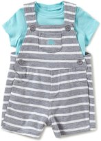 Little Me Baby Boys 3-12 Months Solid Tee & Striped Elephant Shortall