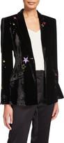 Cinq à Sept Estelle Velvet Star-Embroidered Blazer