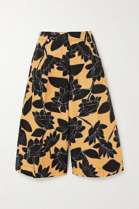 Jacquemus D'homme Floral-print Linen And Cotton-blend Shorts - Yellow