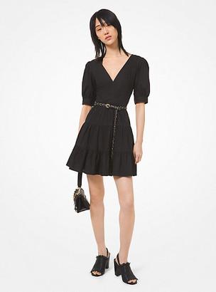 MICHAEL Michael Kors MK Stretch Cotton Poplin Puff-Sleeve Dress - Black - Michael Kors