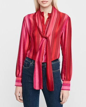 Express Satin Striped Tie Neck Shirt