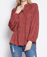 Blu Heaven Rust Abstract Bishop's Sleeve Button-Up Top