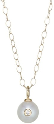 Mizuki 14K Gold, Pearl & Diamond Pendant Necklace