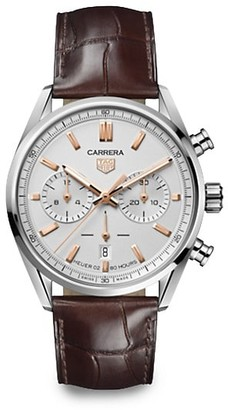 Tag Heuer Carrera Elegance 42MM Stainless Steel & Alligator Strap Automatic Chronograph Watch