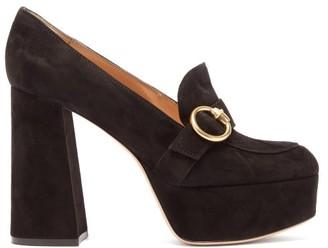 Gianvito Rossi Moccasin Suede Platform Heels - Black
