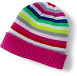 Lands' End Girls Holiday Knit Beanie-Navy Multi Stripe