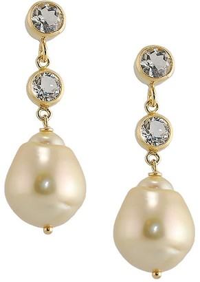 Amy Holton Designs Golden South Sea Pearl Post Earrings With Two White Topaz