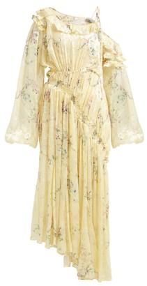 Preen by Thornton Bregazzi Sheila Ruched Silk Blend Devore Dress - Womens - Yellow Multi
