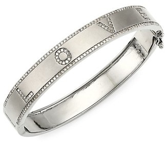 Nina Gilin Rhodium-Plated Silver & Diamond Love Bangle Bracelet