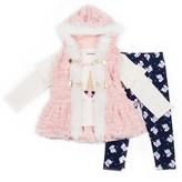 Little Lass Toddler Girl Faux-Fur Vest, Unicorn Tee & Leggings Set