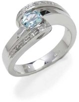 Tatitoto Gioie Women's Ring in 14k Gold with Aquamarine and Diamond H/SI (total diamonds 0.05 ct), Size 6.5, 7.6 Grams