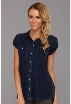 Calvin Klein Jeans S/L Roll Up Top (Ink Blue) - Apparel
