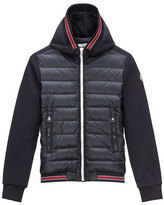 Moncler Tipped Hooded Combo Cardigan, Navy, Size 8-14