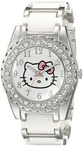 Hello Kitty Girl's HK2183J Silver-Tone Watch With White and Silver Alloy Band