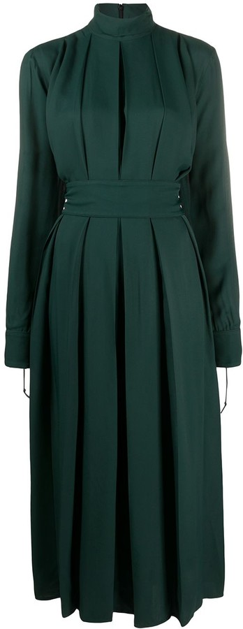 Victoria Beckham High-Neck Pleated Midi Dress
