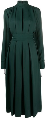 Victoria Beckham High-Neck Pleated Midi Dress