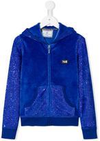 Philipp Plein rhinestone embellished velvet hoodie