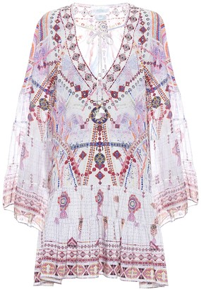 Camilla Printed silk mini tunic dress