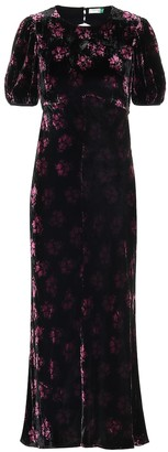 Rixo Daisy velvet maxi dress
