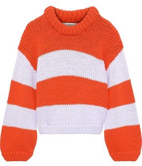 Tibi Striped Cotton-blend Sweater