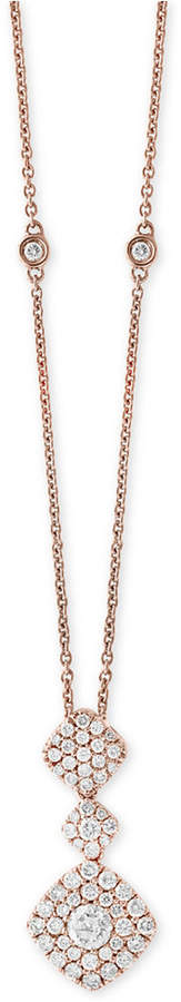 Effy Pave Rose by Diamond Pendant Necklace (1 ct. t.w.) in 14k Rose Gold