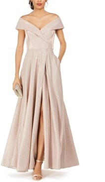 Xscape Evenings Petite Off-the-Shoulder Glitter Gown