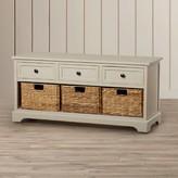 Beachcrest Home Santa Cruz Solid Wood Drawer Storage Bench Color: Vintage Gray