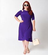 Kiyonna Plus Size Violet Purple Racy Half Sleeve Faux Wrap Dress