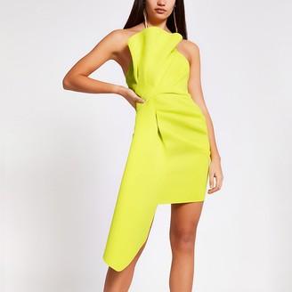 River Island Lime ruffle bandeau mini dress