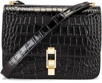 Saint Laurent Carre Embossed Croc Shoulder Bag in Black | FWRD