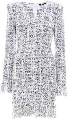 Balmain Fringed Tweed V-Neck Dress