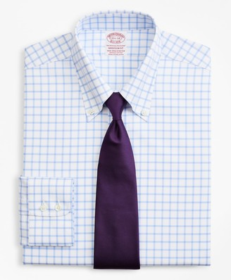 Brooks Brothers Stretch Madison Classic-Fit Dress Shirt, Non-Iron Twill Button-Down Collar Grid Check