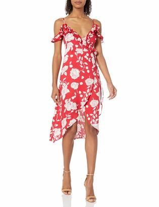 MinkPink Women's Enchanted Rose Print Midi Wrap Dress